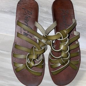 Blowfish brown and green sandals
